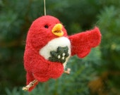 Needle Felted Bird Ornament - Singing with Holly