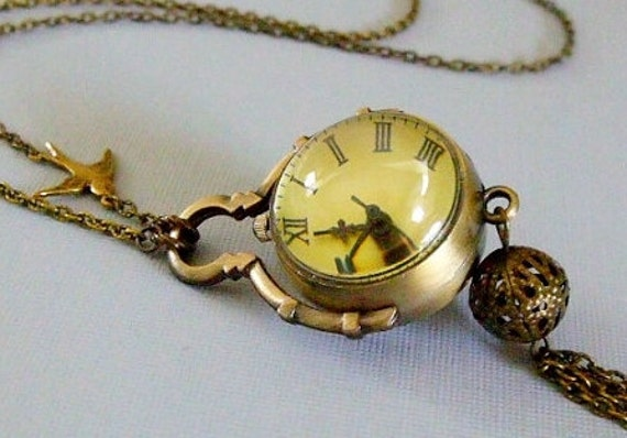 Pocket Watch Necklace, Ball Pocket Watch, Watch Necklace, Vintage Style Pocket Watch, Large Watch Necklace, Long Pendant Necklace