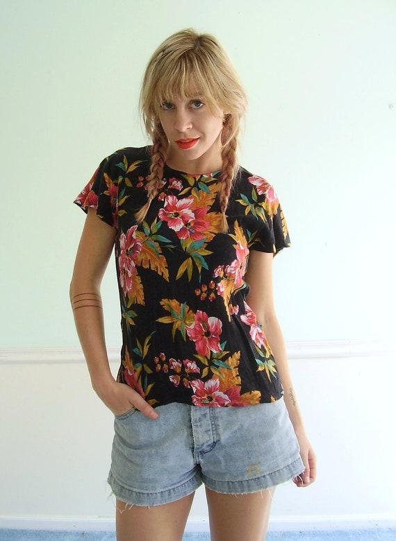 Tropical Floral Print Blouse - Vintage 90s - Back Buttoned - XS S