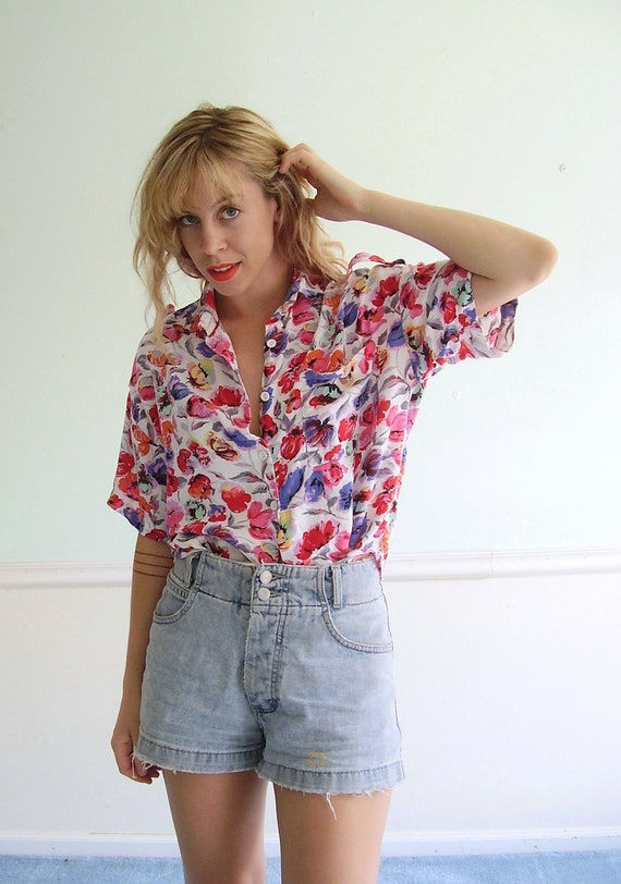 Rainbow Floral Print 90s Cropped Short Sleeve Pocket Blouse Shirt - S M