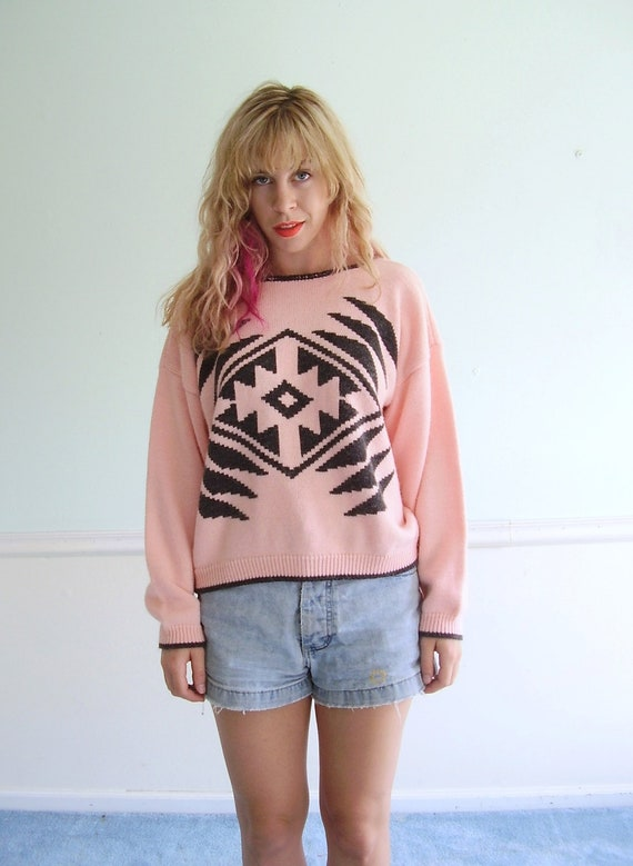 Pink Tribal Cropped 90s LS Knit Sweater Top - MEDIUM M - Crop Top