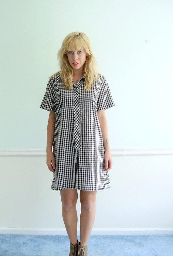 Gingham Checkered SS Mini Shirt Dress Vintage 60s Mod M L Petite P