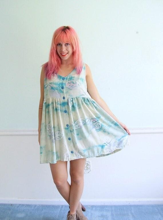 Rainbow Tie Dye Mini Babydoll Dress - Vintage 90s - MEDIUM LARGE M L - Sleeveless