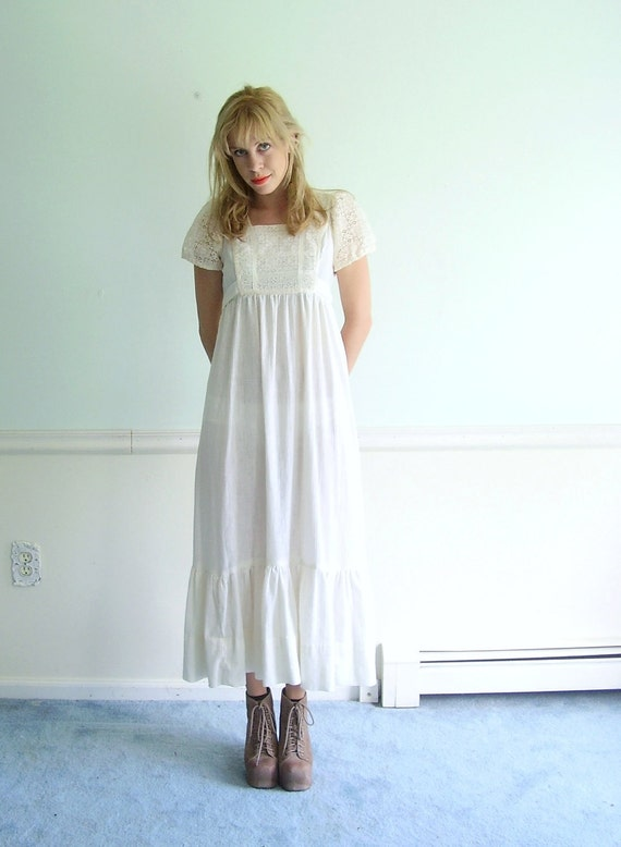 Sweet Virginia 70s Crocheted Lace PUFF Sleeve Ivory BOHO Maxi Dress XS