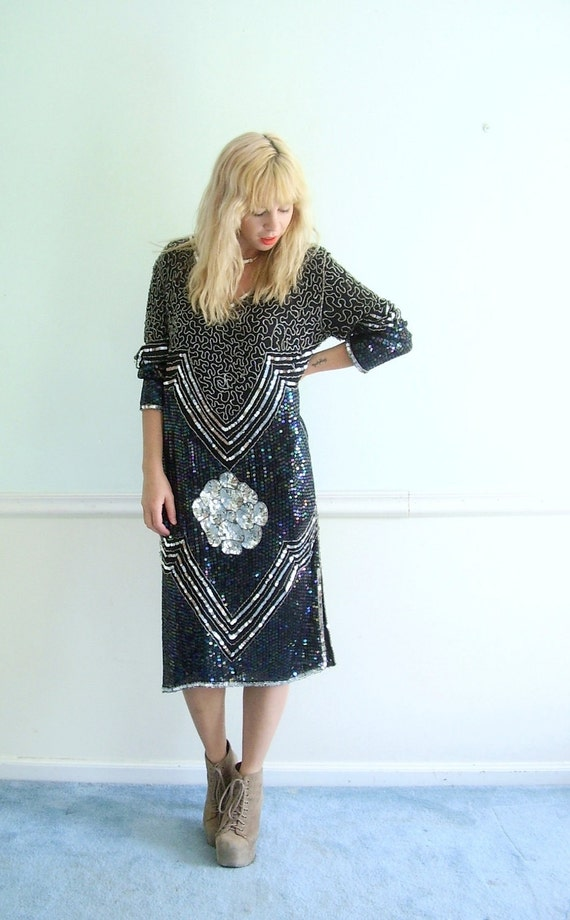Beaded Black and Silver Silk VIntage 80s Cocktail Dress SMALL MEDIUM S M