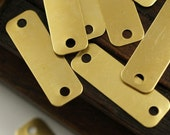 50 Raw Huge Brass Rectangle  Stamping Blank Geometric Findings  2 Holes (30x10 Mm) Brs 716 ( A0342 )