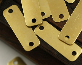 Huge Rectangle Connector, 50 Raw Brass Rectangle Stamping Blank Geometric Findings With 2 Holes (30x10mm) Brs 716 A0342