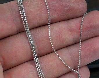 Silver Faceted Chain, 10 Meters - 33 Feet 1 Mm Silver Tone Brass Faceted Ball Chain - W69 ( Z030 )