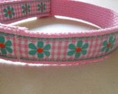 Girl Dog/Puppy Pink and White Gingham Checks, Turquoise Flowers with Orange Centers, 50's Retro