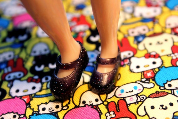 Blythe Black with silver glitter Cute Mary Jane shoes