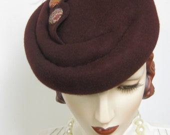 1940's French Sculpted Toque/ Bordeaux