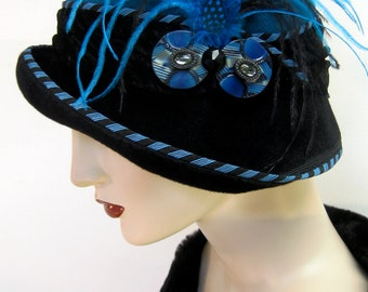 1920's Gatsby Cloche/Turquoise and Black