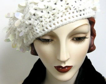 Hand Crocheted White Beret with Spangles