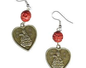 Quan Yin Heart Earrings cinnebar gemstone