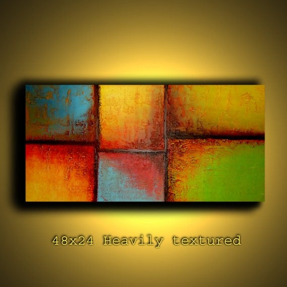 48x24 Heavily textured modern abstract painting ready to hang by Elsisy
