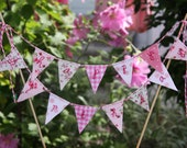 Cake Bunting Pretty Pinks HAPPY BIRTHDAY Fabric Cake Topper for Weddings Birthday Party and Baby Showers Custom made to order