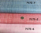 fabric gingham pastel pink, baby Blue, Red | buffalo checks calico | Quilt Cotton | by the yard 1930's reproduction fabric