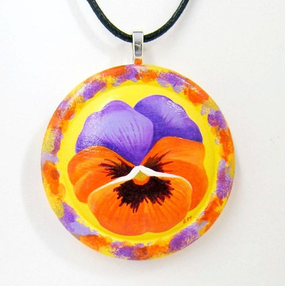 Purple & Orange Pansy On Yellow-Hand Painted Wooden Pendant Necklace