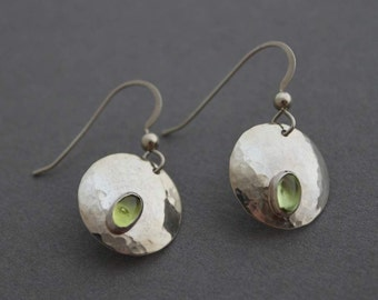 Sterling and Peridot Earrings - Full Moon