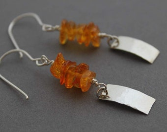 Sterling and Amber Earrings, The Sun's Warmth