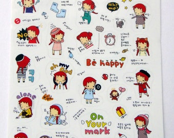 Cute Little Red Haired Girl Plastic Stickers From Korea - Reading Book, Coffee, Bunny Rabbit, Monkey, Cheerleader, Cat, Boots, Cat, Cake