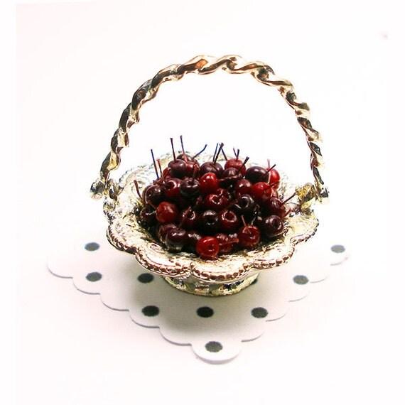 Basket of Cherries - Dollhouse Miniature Food Handmade