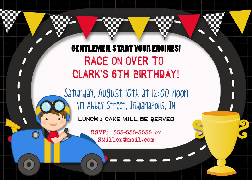 race car birthday invitation x printable by photogreetings, Birthday invitations