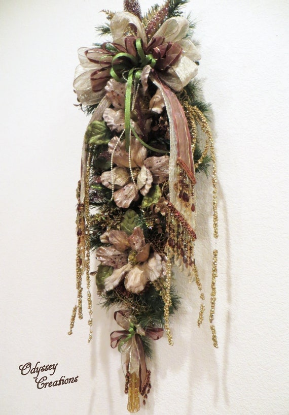 Reserved for Ed - Victorian Door Swag in Beige and Brown Magnolias with Lime Green accents  and beaded accents