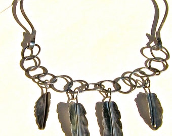Hammered Sterling Choker, Hammered Neck Ring, Silver Leaf Dangles,