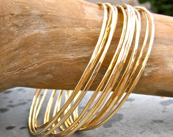 14K Gold Bangles, Gold Filled Bangles, Hammered Bangle Set, Set of Ten