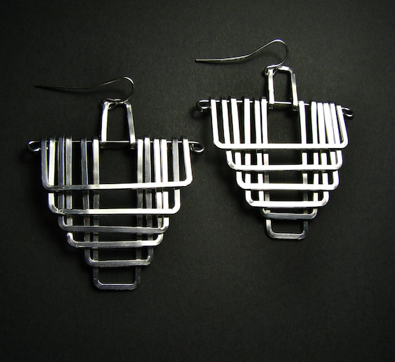 Geometric Earrings - Falling Temple Reversed Design - Aluminum - handmade in Austin, Tx