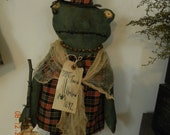 SALE Primitive Halloween Toad Hollow 1692 Frog Witch 22 inches  OOAK   OFG Team Halloween247 TeamEtsyFolk FTTeam