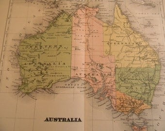 1903 Map Australia - Vintage Antique Map Great for Framing 100 Years Old