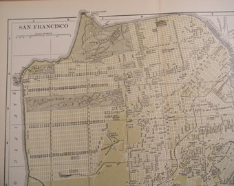 1903 City Map San Francisco California - Vintage Antique Map Great for Framing 100 Years Old