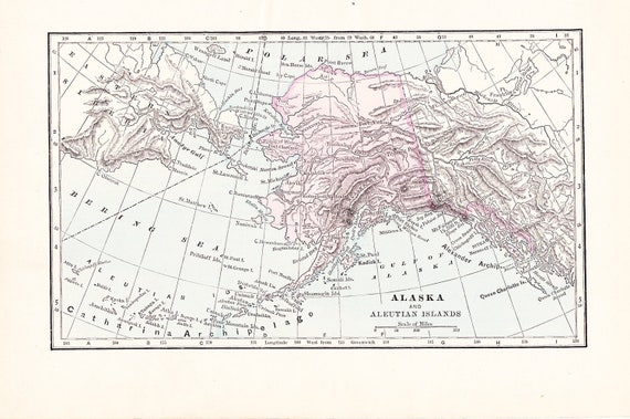 1897 Map Alaska - Vintage Antique Map Great for Framing 100 Years Old