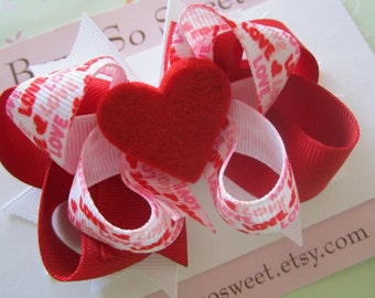 Red Valentine Hearts Hair Bow, Boutique Layered Hair Bow, Spiked Layers Girls Hair Bows