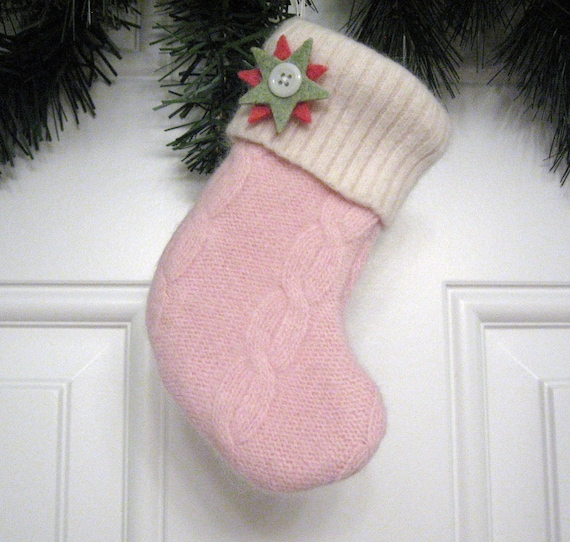 Knitting Pattern For Cutlery Holders : Christmas Stocking Ornament Silverware Holder from Pink Cable