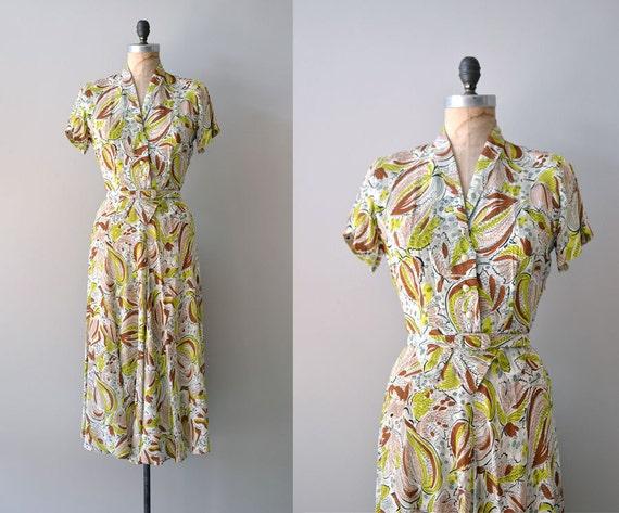 1940s dress / vintage 40s dress / Art of Noise dress