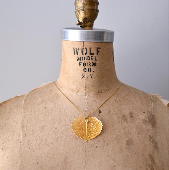 vintage necklace / gold-dipped leaf / leaf necklace / Filigree Leaf