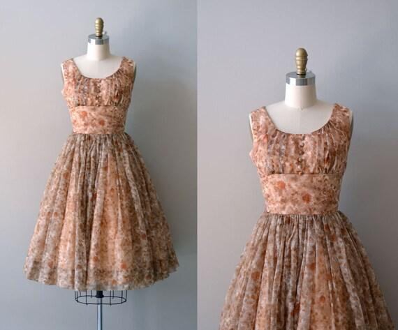 1950s dress / chiffon 50s dress / floral print / Layia dress