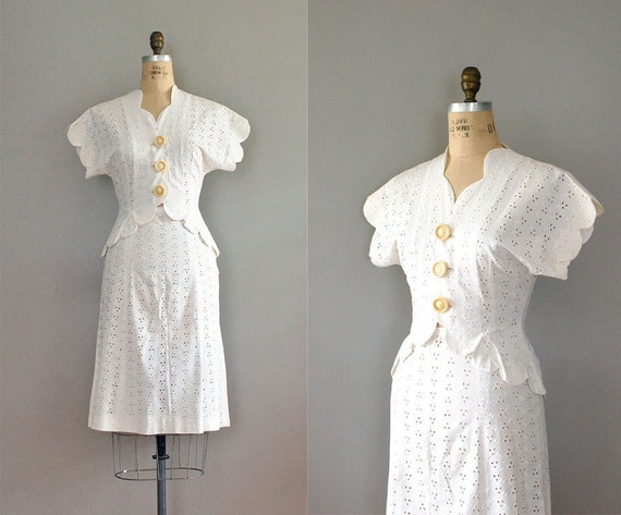 S A L E ...1940s dress / 40s eyelet two piece outfit / Sunday Wedding suit