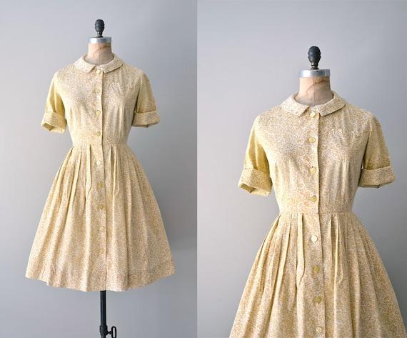 1950s shirtdress / vintage 50s dress / floral shirtwaist dress / Just Like Honey