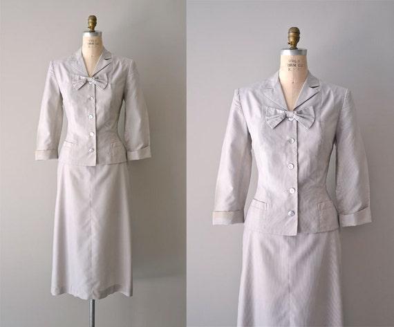 1950s suit / wool 50s suit / Misty Sheen seersucker suit