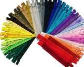 """5"""",6""""7""""&8""""100 Assorted colors 500 available colors in stock -Most on Etsy-WHOLESALE YKK Closed Bottom- great for craft projects-"""