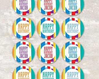 PRINT & SHIP Mod Stripe Birthday Party Cupcake Toppers (set of 12) >> personalized and shipped to you | Paper and Cake