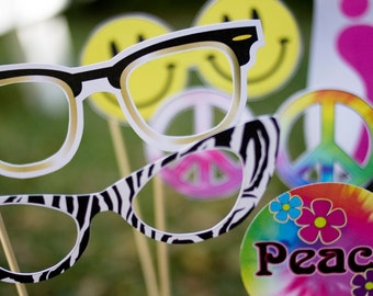 60s Groovy Peace Printable PHOTO BOOTH PROPS - Editable Text >> Instant Download <<