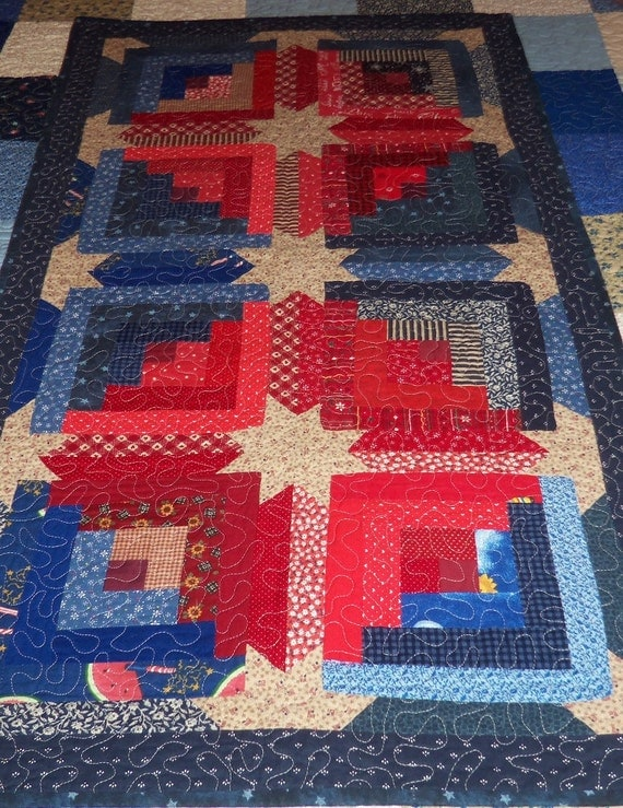 Quilted Table Runner, Quilted Wall Hanging, Americana Scattered Star,Sale Priced