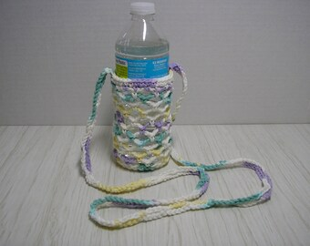 Water Bottle Carrier Bag Tote Crochet Pastel Green White Purple Yellow Variegated