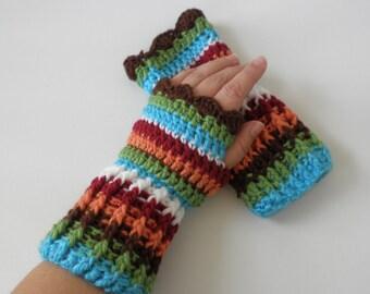 Multi-Stripe Fingerless Gloves