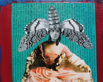 collage mixed media art painting wall art collage original on wood